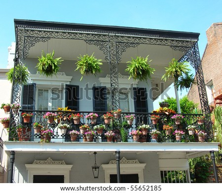 Flowerpots at the French Quarters - stock photo