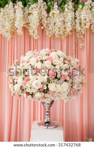 Flowersbouquet front wedding background wedding decoration stock flowersbouquet in front of wedding background wedding decoration junglespirit Gallery