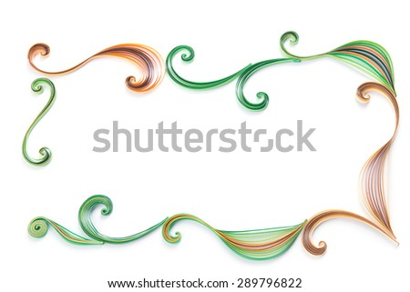 flowers made quilling frame on a light background - stock photo