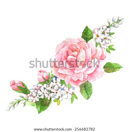 flowers painting watercolor . roses illustrations - stock photo