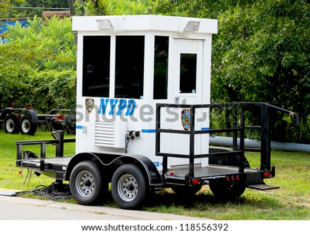 FLUSHING, NY- AUGUST 25: NYPD trailer  ready to protect public  at Billie Jean King National Tennis Center on August 25, 2012 in Flushing, NY - stock photo