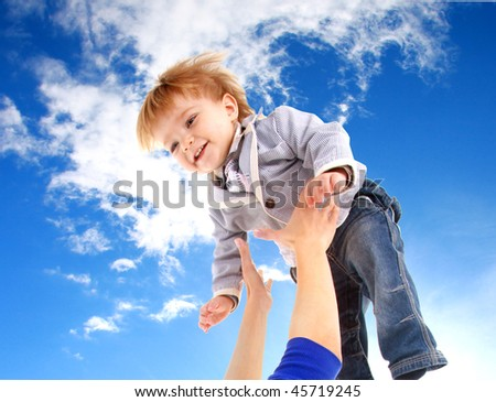 flying child on sky background - stock photo