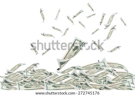 20 flying dollar bills, isolated on white. - stock photo