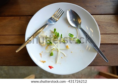 food scraps in the plate in the wood floor - stock photo