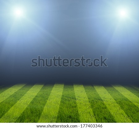 football field at night with light - stock photo