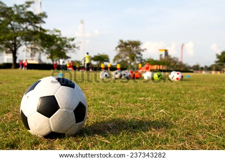 football on green grass and children training academy, youth soccer center. - stock photo