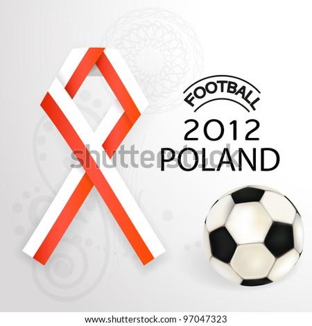 2012 Football Poland flag symbol with soccerball. - stock photo