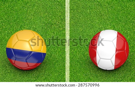 2015 football tournament, teams Colombia vs Peru - stock photo