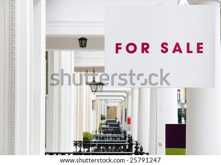 """""""FOR SALE"""" Real Estate Property sign in London. - stock photo"""