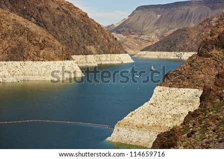 Formed by the Hoover Dam, Lake Mead in Nevada, U.S.A. Lake Mead is the Largest Reservoir in the United States. Lake Mead Bathtub Ring. - stock photo