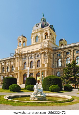 Fountain in front of the Kunsthistorisches Museum in Vienna. - stock photo