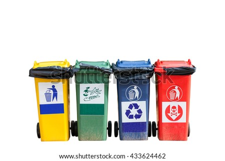 Four colorful trash cans (garbage bins) on white background - stock photo