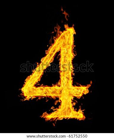 4 (four), fire figure - stock photo