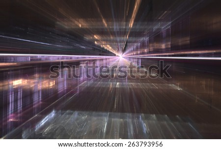 Fractal City series. Design composed of three dimensional fractal structures and lights as a metaphor on the subject of technology. - stock photo