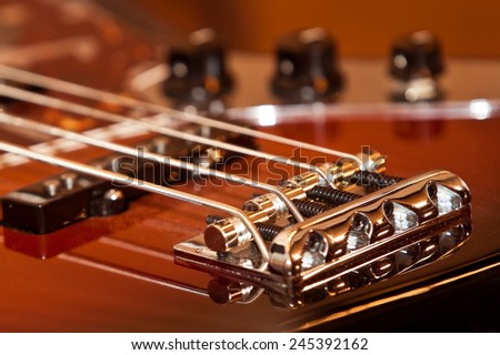Fragment electric guitar closeup - stock photo