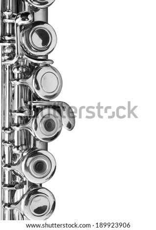 Fragment flute on a white background - stock photo