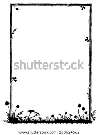 frame with mushrooms in black and white colors - stock photo
