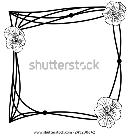 frame with pansies in black and white colors - stock photo