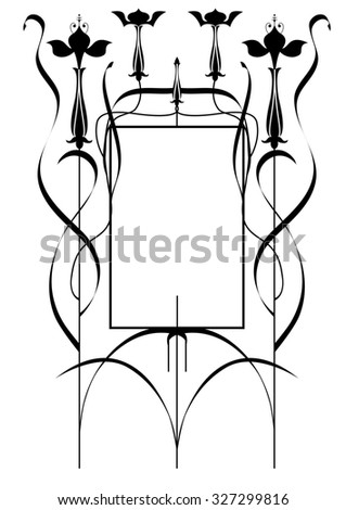 frame with stylized fuchsia in black and white colors - stock photo