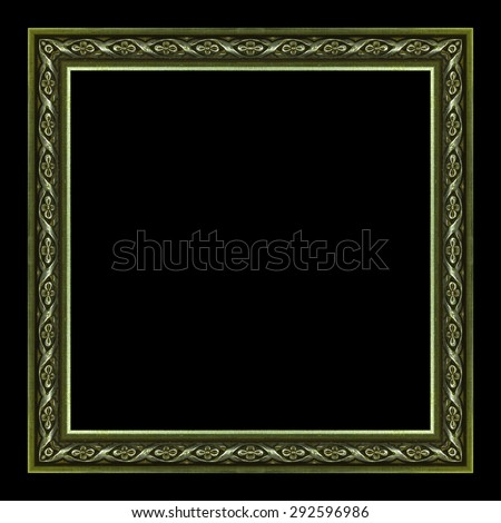 frame wooden picture frame Old isolated on a black background. - stock photo