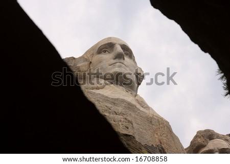 """framed"" portrait of George Washington's profile on Mount Rushmore - stock photo"