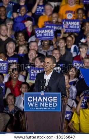 FREDERICKSBURG,VA - SEPT 27: Democratic presidential candidate Barack Obama speaks to supporters at a rally on September 27, 2008 in Fredericksburg, Virginia. - stock photo