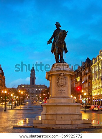 Freedom Square with monument of King Peter IV in Porto. Porto, Portugal  - stock photo