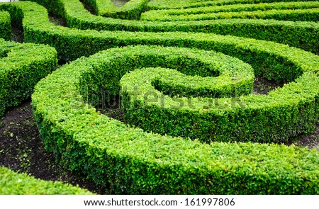 French formal garden in the center of Paris  - stock photo