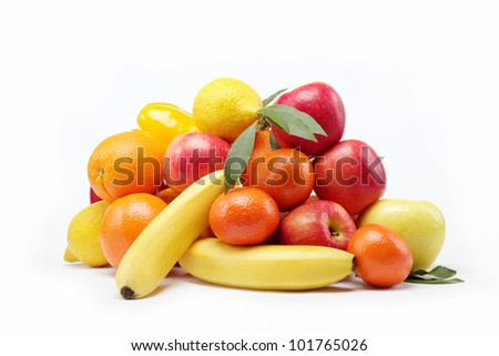 Fresh citrus fruits isolated on a white background.