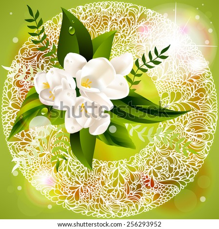 fresh green abstract spring background with flowers. - stock photo