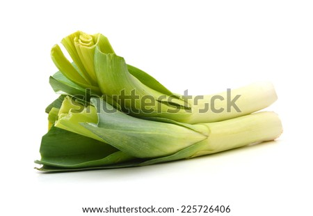 fresh leeks on a white background  - stock photo