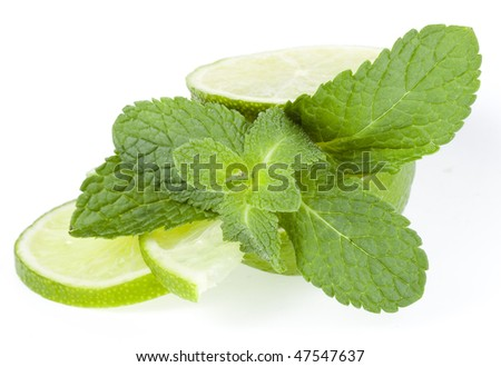 fresh lime and mint  isolated on white background - stock photo