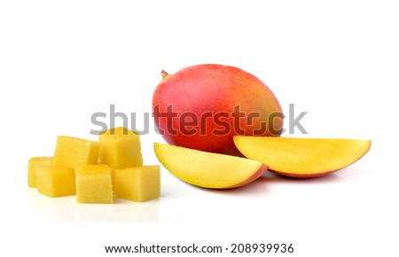 fresh mango isolated on white background - stock photo