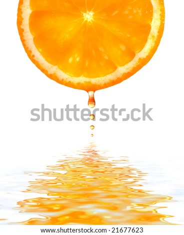 Fresh orange jumping into water with  splash
