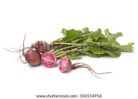 Fresh raw Chioggia  beets on white background - stock photo