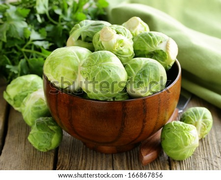 fresh raw organic green brussel sprouts - stock photo