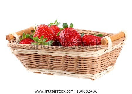fresh red strawberries  in the basket isolated on white