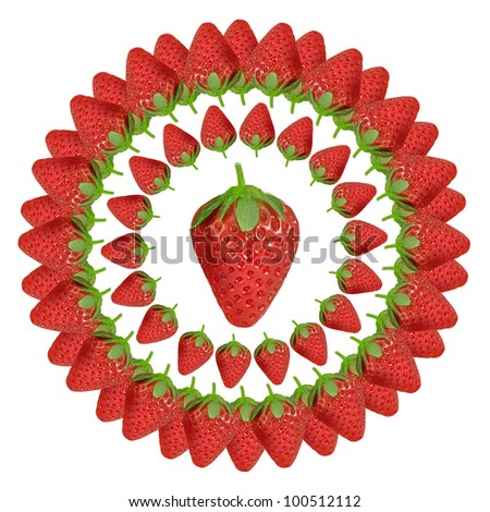 """Fresh red strawberries on white background"" - stock photo"