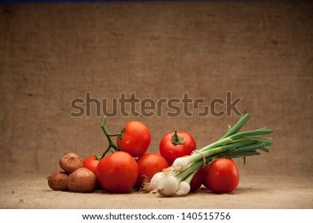 fresh seasonal vegetables - stock photo