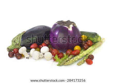 Fresh spring vegetables isolated on White background - stock photo