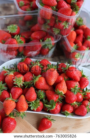 Fresh strawberries on display