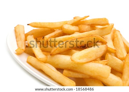 fries on white background