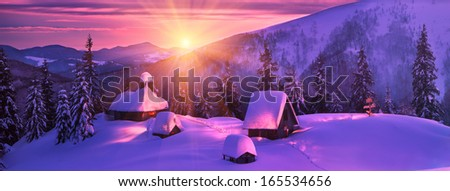 frosty snowy mountains, amid beautiful majestic Alpine peaks, stands the church shepherds who visited her in the summer, and in winter-only lonely tourists admire this beauty, it is very high and far - stock photo