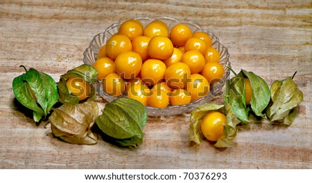 fruit in glass bowl - stock photo