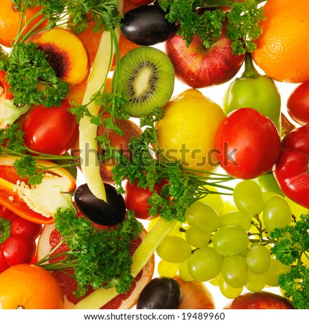 fruits and vegetables insulated on white background - stock photo
