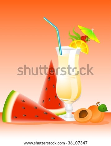 Fruits cocktail with fruits - stock photo