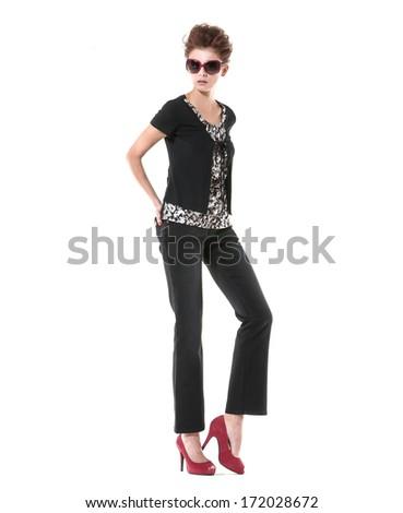 full length beautiful casual young fashion model shot in studio - stock photo