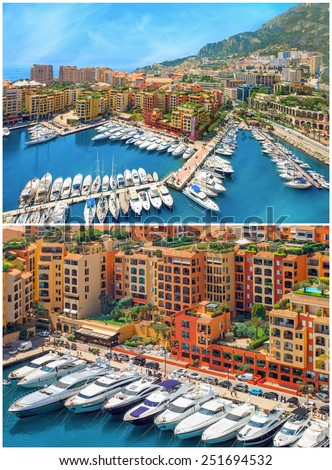 2 full size images collage.Luxury yachts in the bay of Monaco, France, Cote d'Azur - stock photo