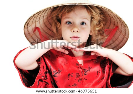 funny little girl wearing like oriental one - stock photo