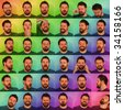 36 funny portraits of a man with a beard pulling faces. Background has been processed to appear colourful and cheery - stock photo